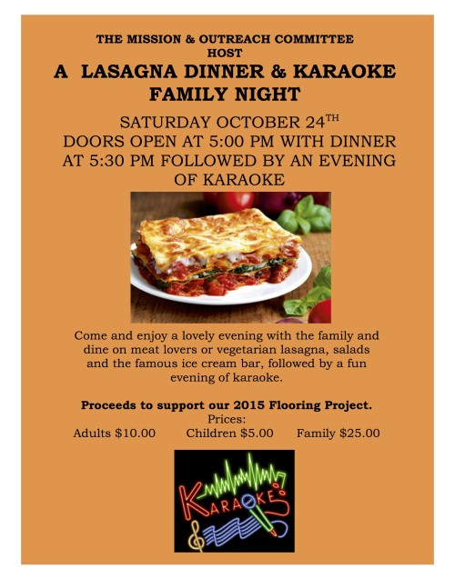 2015 KARAOKE AND LASAGNE DINNER  POSTER AND SIGN UP