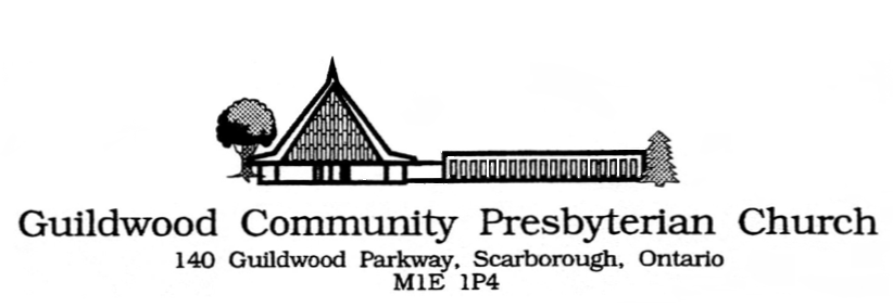 Logo of the church with silhouette of the building, name and address in text