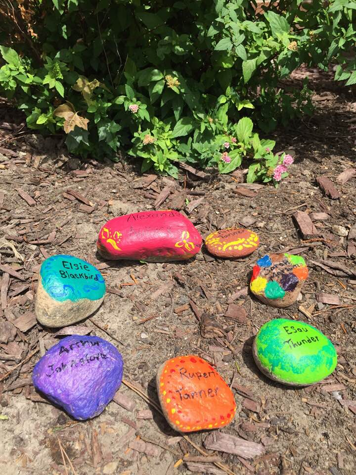 Painted stones, each with a person's name, placed on the earth next to a flowering shrub
