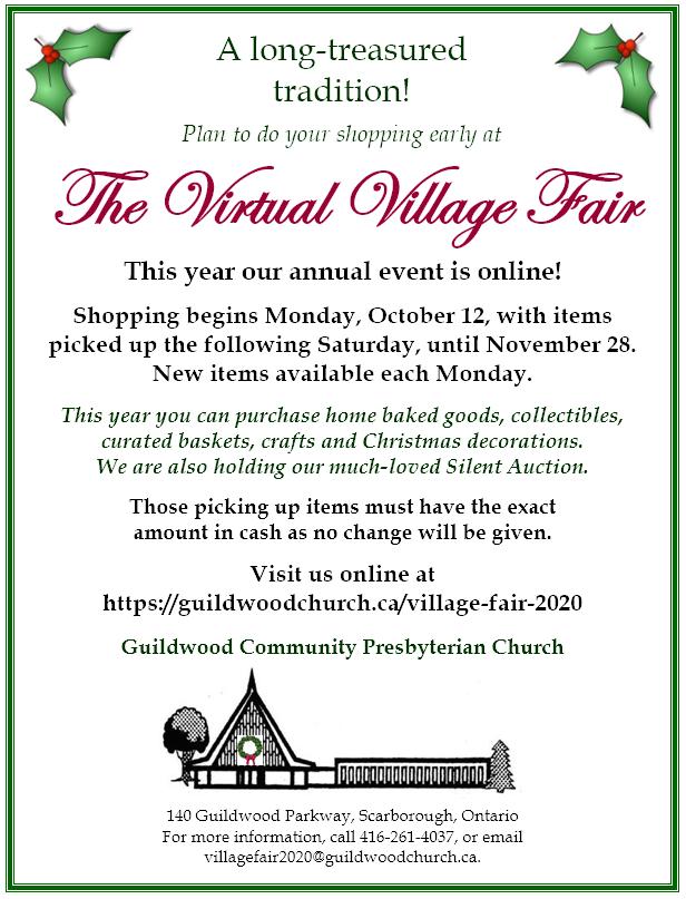Poster announcing GCPC Village Fair 2020