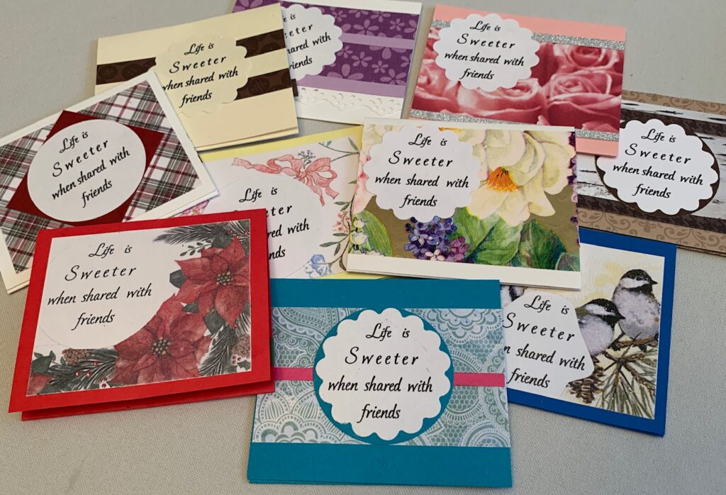 Various paper greeting cards