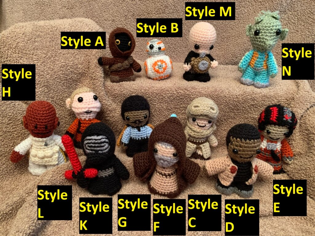 Crocheted Star Wars figures
