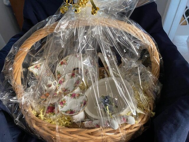 basket wrapped in cellophane