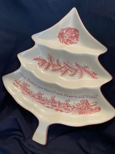Christmas tree-shaped serving plate with red 'Twas the Night Before Christmas design