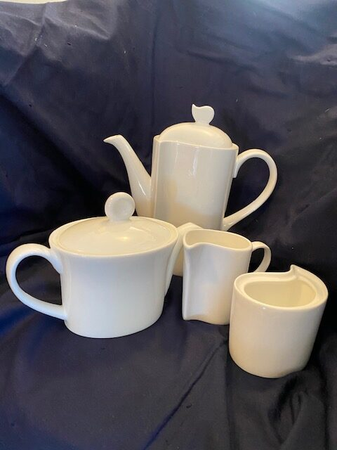 tea pot, coffee pot, creamer, sugar bowl