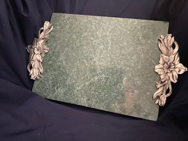 granite cheese board with metal floral handles