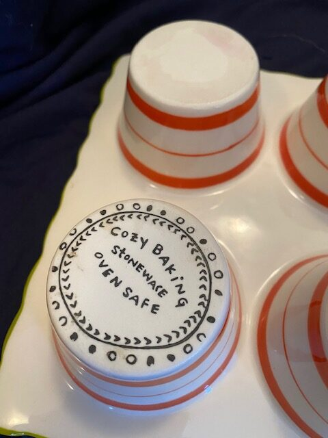underside of stoneware muffin/cupcake baking dish