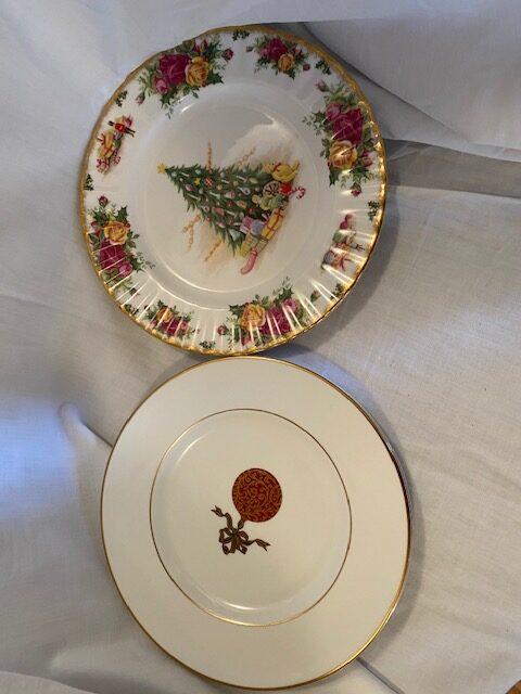 2 Christmas-themed china serving plates