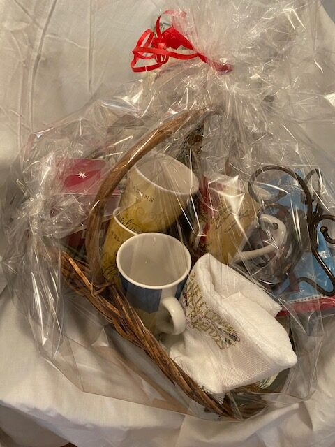 gift basket wrapped in cellophane