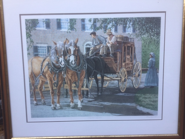 colour print of a stagecoach with two horses and two attendants preparing for departure, with a woman standing next to the cabin