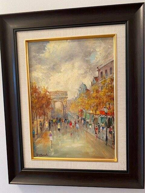 oil painting with dark wood frame; depicts a rainy scene in Paris with a streetscape and the Arc de Triomphe