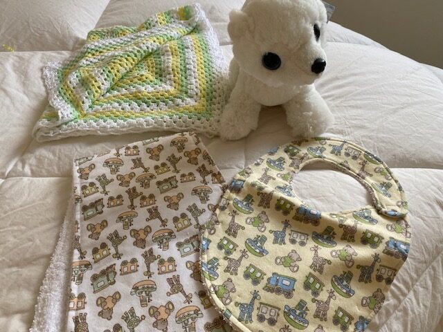 baby bib, baby burp cloth, stuffed polar bear, pram cover