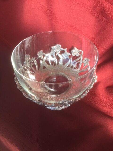 glass serving dish with integrated pewter base