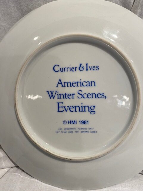 back of a collector plate - titled American Winter Scenes, Winter - Currier & Ives / HMI