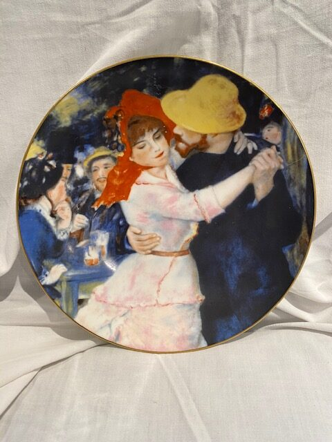 """front of a collector plate - showing part of the Renoir painting """"Dance at Bougival"""" (1883)"""