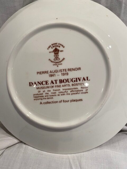back of a collector plate - titled Dance at Bougival - Crown bone china Staffordshire